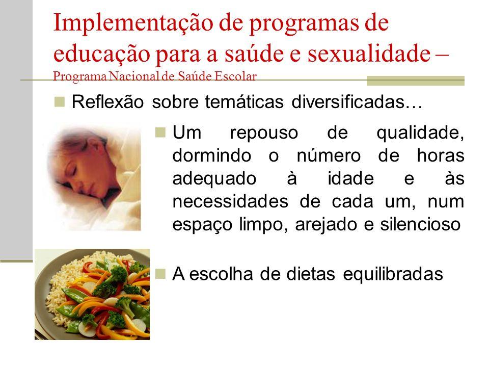 Implementação de programas de educação para a saúde e sexualidade – Programa Nacional de Saúde Escolar
