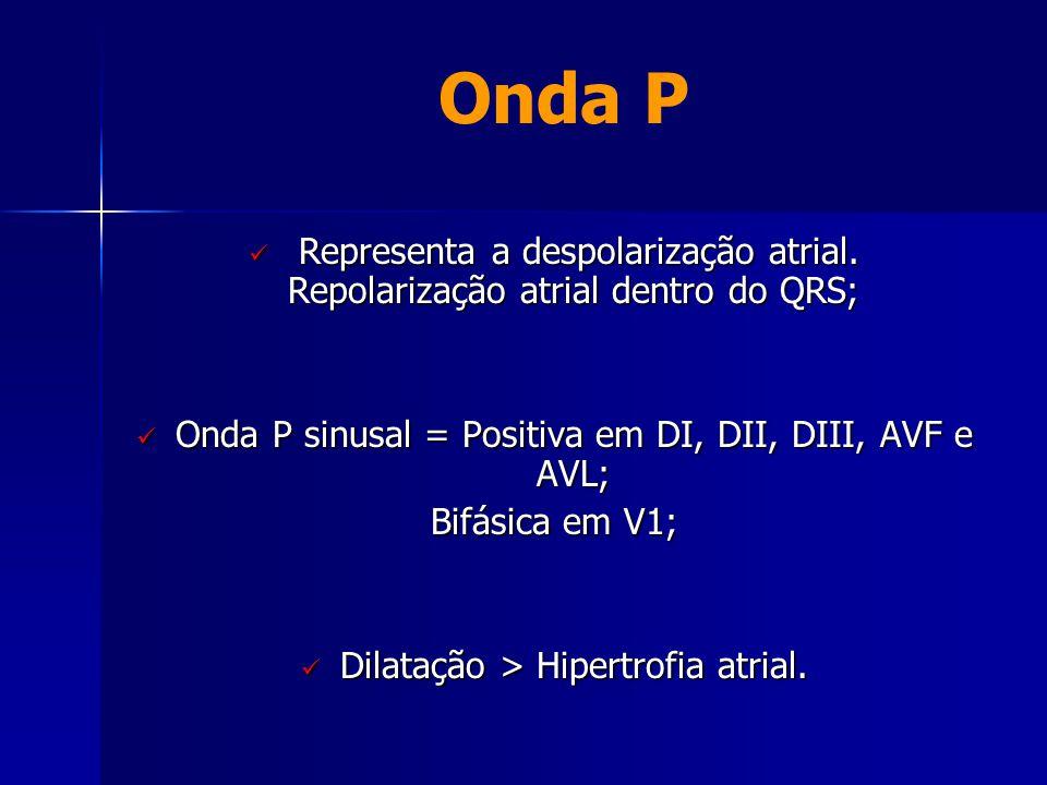 Onda P Representa a despolarização atrial. Repolarização atrial dentro do QRS; Onda P sinusal = Positiva em DI, DII, DIII, AVF e AVL;