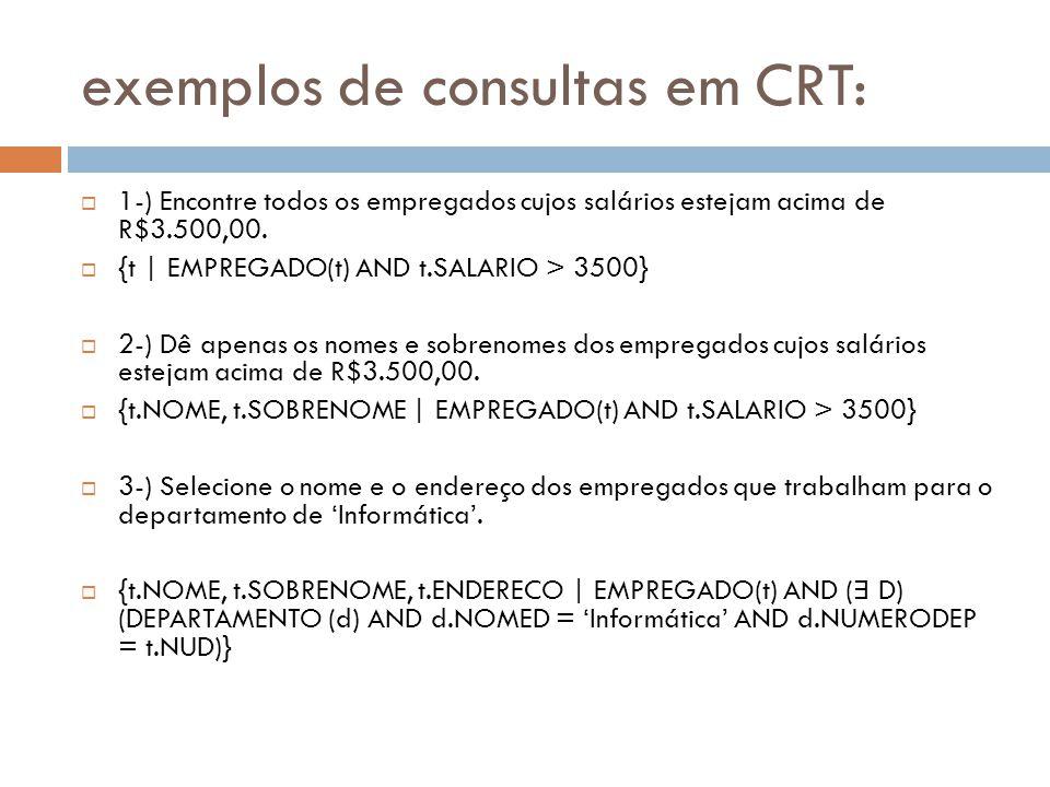 exemplos de consultas em CRT: