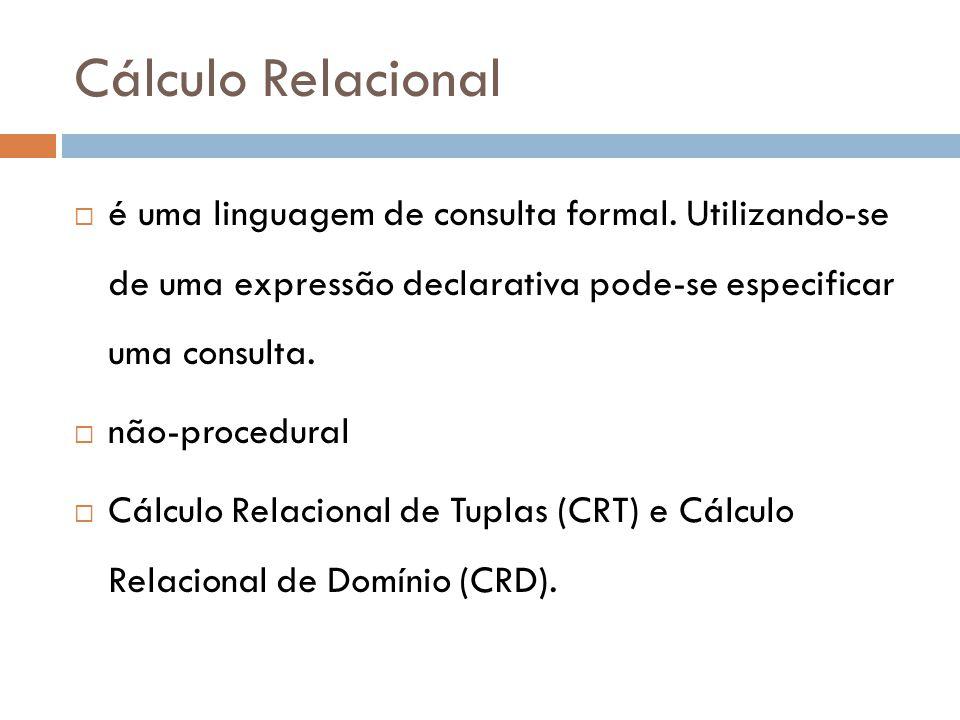 Cálculo Relacional é uma linguagem de consulta formal. Utilizando-se de uma expressão declarativa pode-se especificar uma consulta.