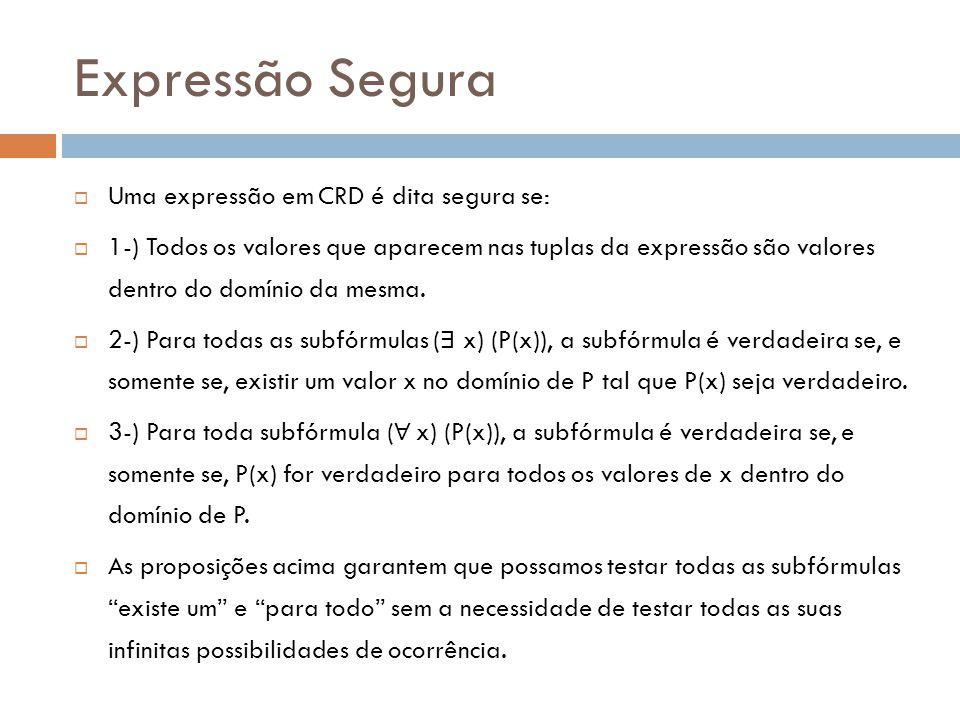 Expressão Segura Uma expressão em CRD é dita segura se: