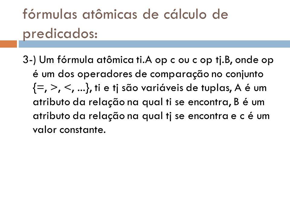 fórmulas atômicas de cálculo de predicados: