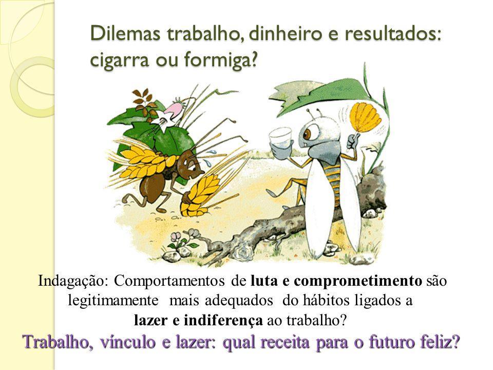 Dilemas trabalho, dinheiro e resultados: cigarra ou formiga