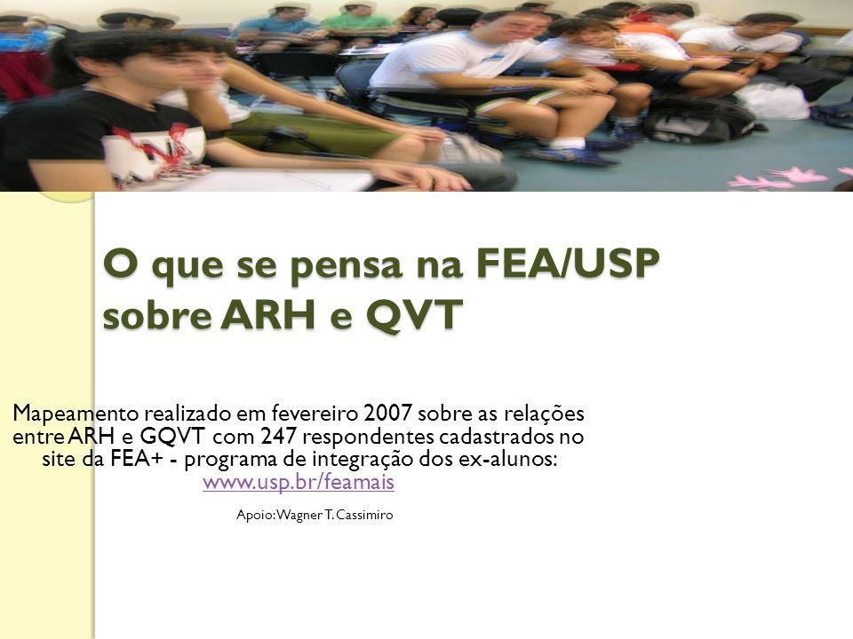 O que se pensa na FEA/USP sobre ARH e QVT