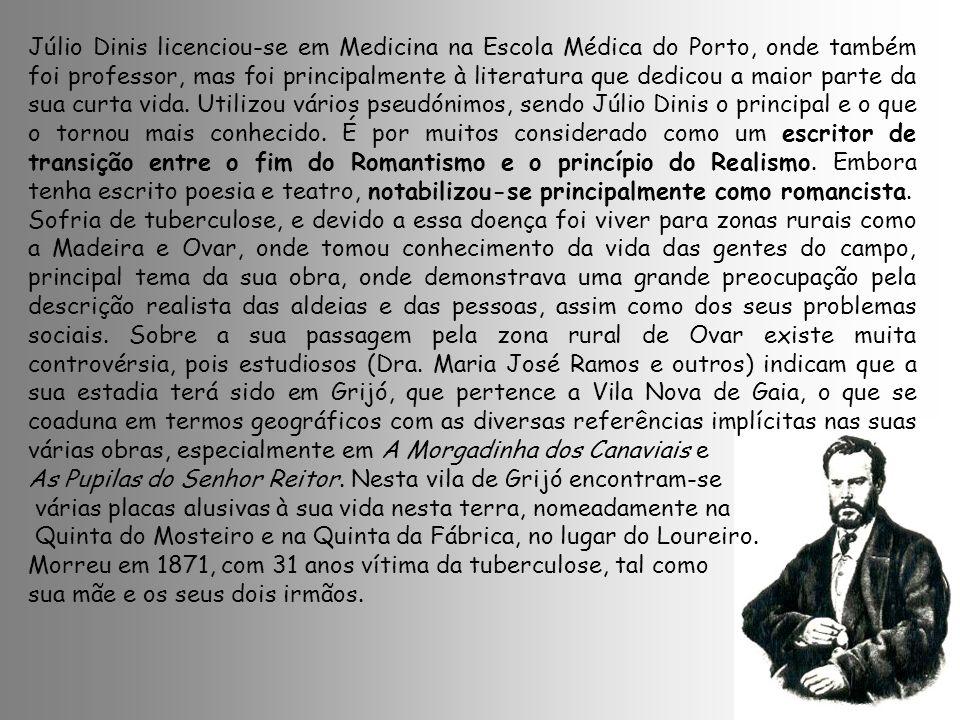 Júlio Dinis licenciou-se em Medicina na Escola Médica do Porto, onde também foi professor, mas foi principalmente à literatura que dedicou a maior parte da sua curta vida. Utilizou vários pseudónimos, sendo Júlio Dinis o principal e o que o tornou mais conhecido. É por muitos considerado como um escritor de transição entre o fim do Romantismo e o princípio do Realismo. Embora tenha escrito poesia e teatro, notabilizou-se principalmente como romancista.