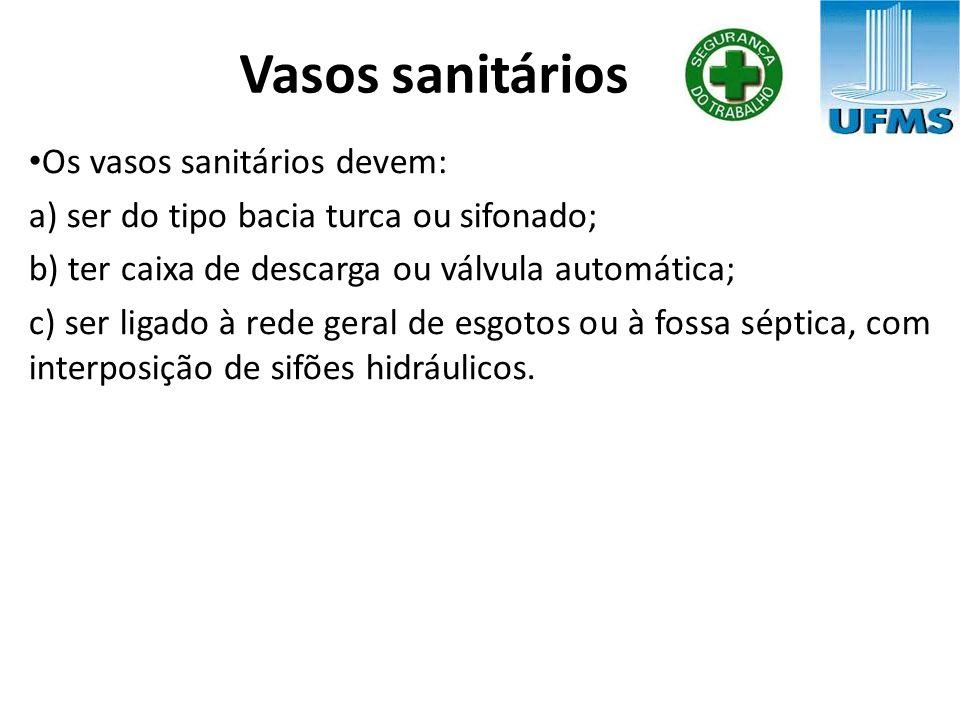 Vasos sanitários Os vasos sanitários devem: