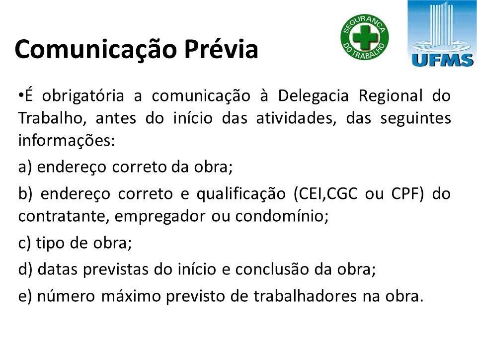 Comunicação Prévia É obrigatória a comunicação à Delegacia Regional do Trabalho, antes do início das atividades, das seguintes informações: