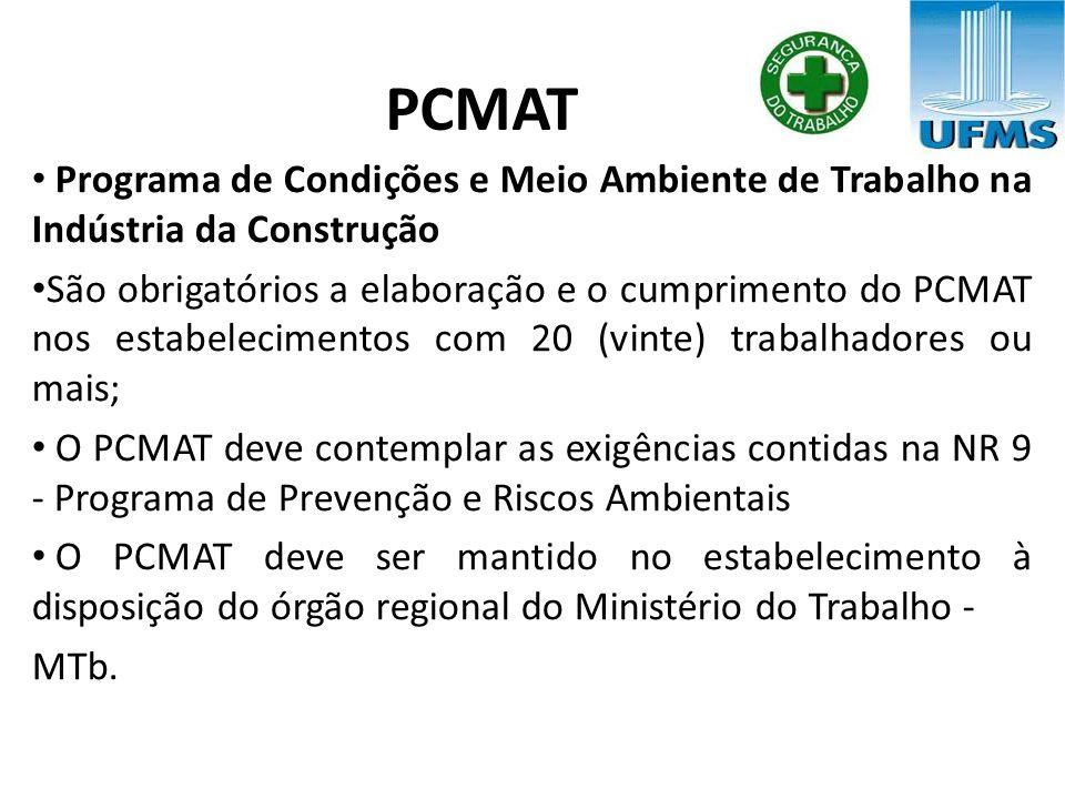 PCMAT Programa de Condições e Meio Ambiente de Trabalho na Indústria da Construção.