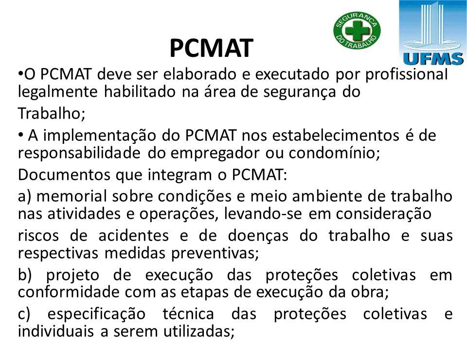 PCMAT O PCMAT deve ser elaborado e executado por profissional legalmente habilitado na área de segurança do.