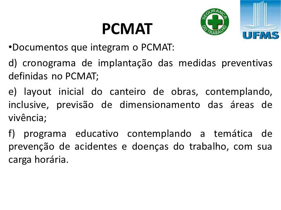 PCMAT Documentos que integram o PCMAT: