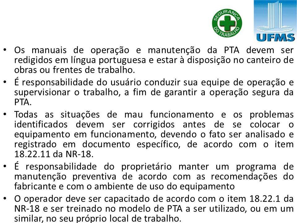 Os manuais de operação e manutenção da PTA devem ser redigidos em língua portuguesa e estar à disposição no canteiro de obras ou frentes de trabalho.
