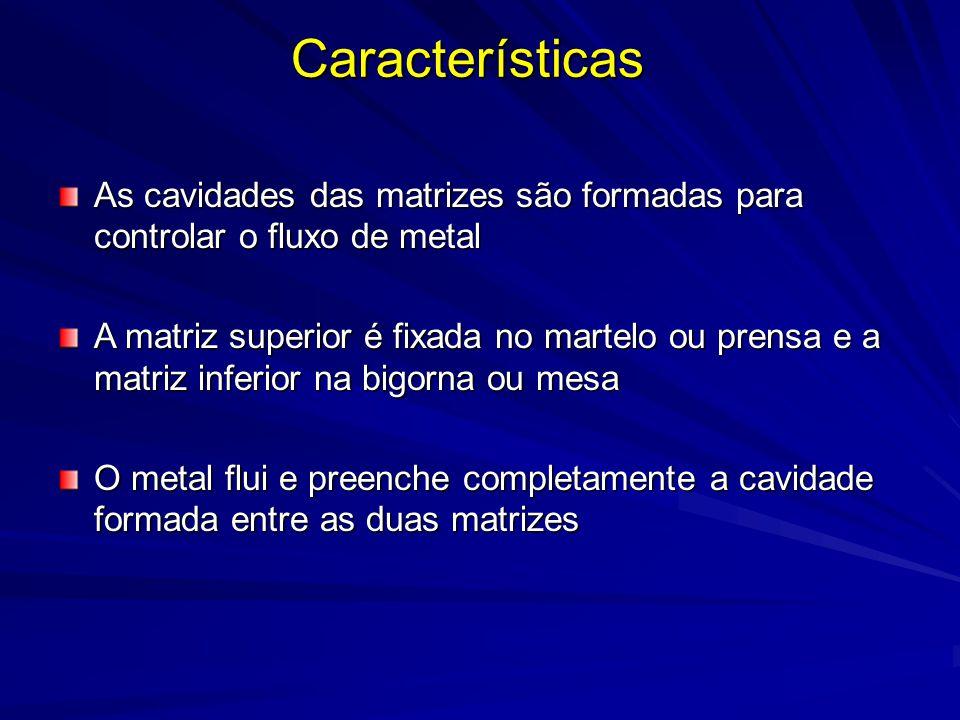 Características As cavidades das matrizes são formadas para controlar o fluxo de metal.