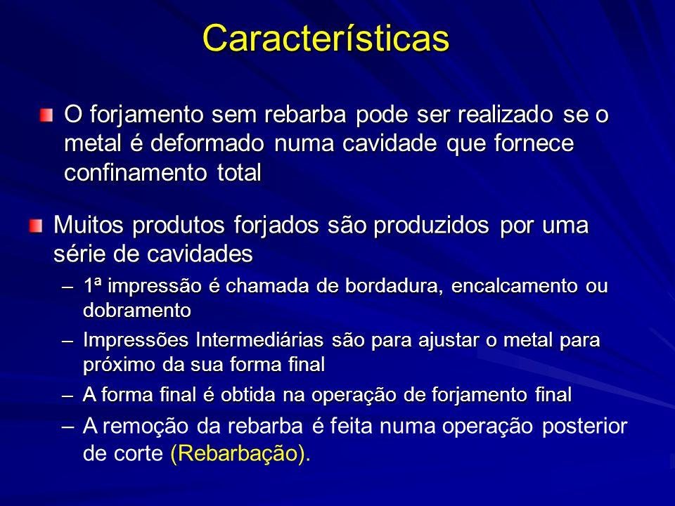 Características O forjamento sem rebarba pode ser realizado se o metal é deformado numa cavidade que fornece confinamento total.