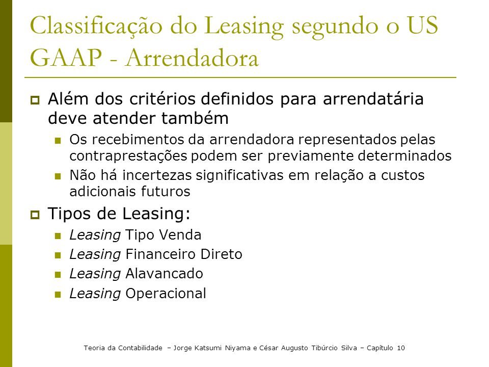 Classificação do Leasing segundo o US GAAP - Arrendadora