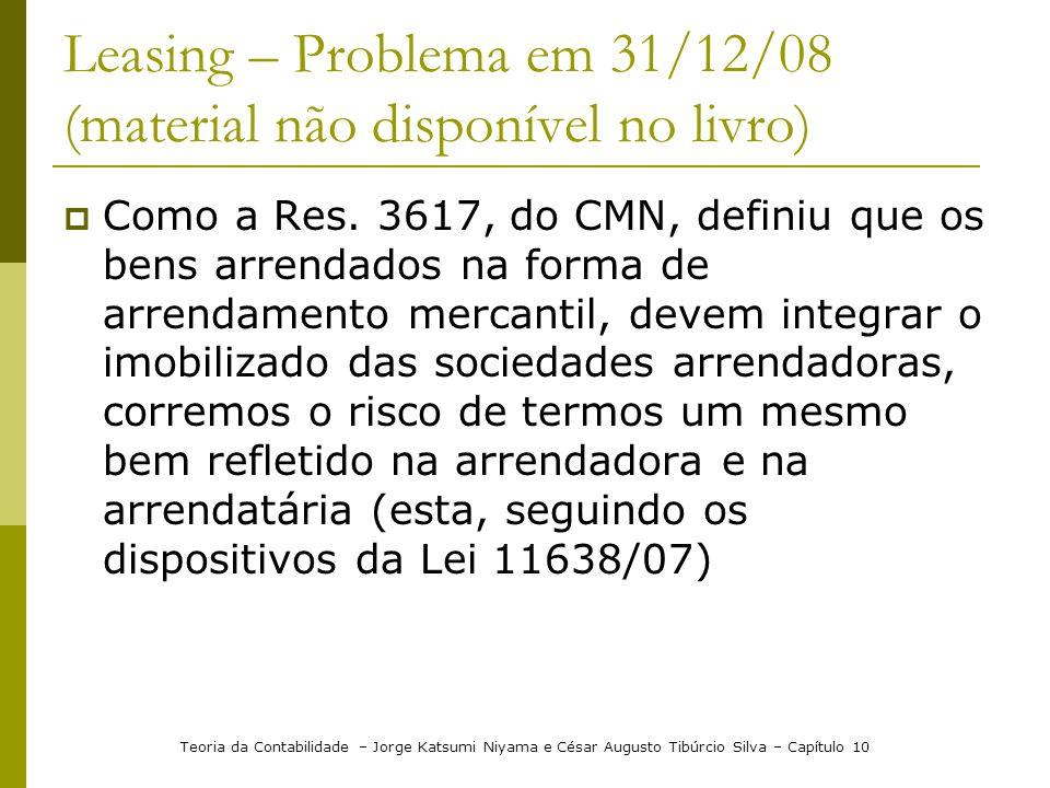 Leasing – Problema em 31/12/08 (material não disponível no livro)