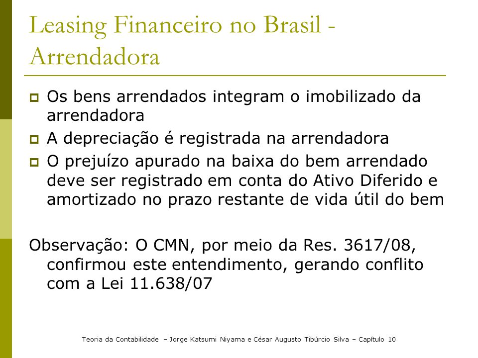 Leasing Financeiro no Brasil - Arrendadora