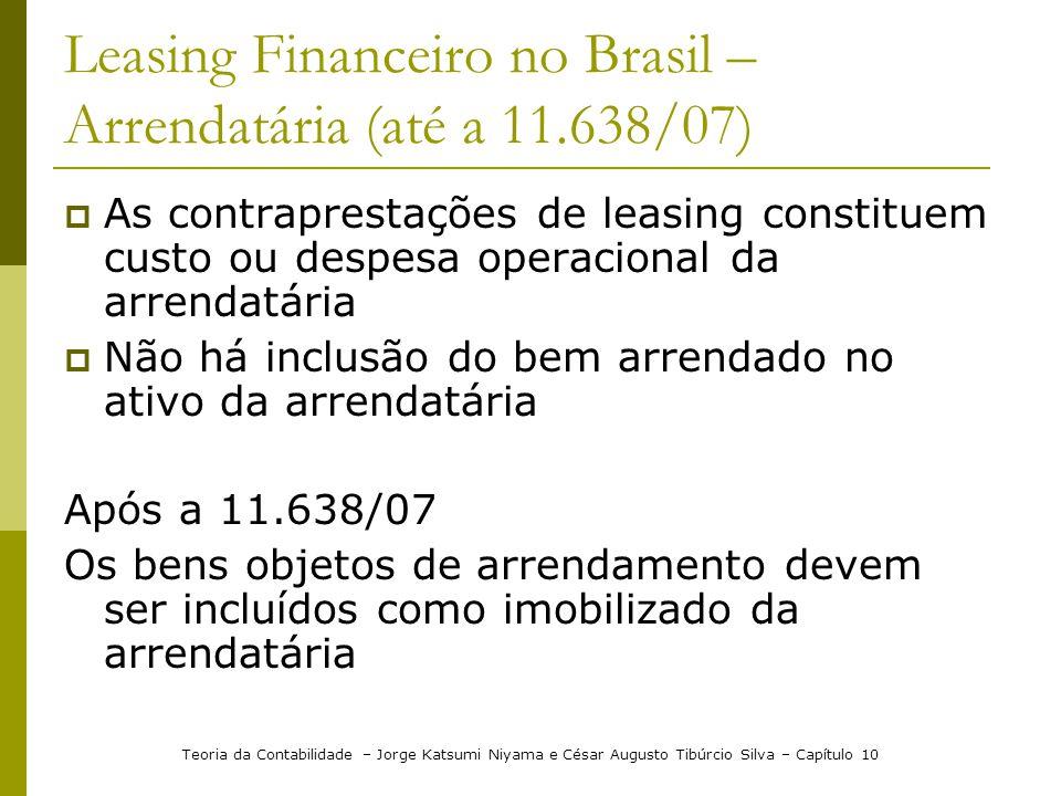 Leasing Financeiro no Brasil – Arrendatária (até a 11.638/07)