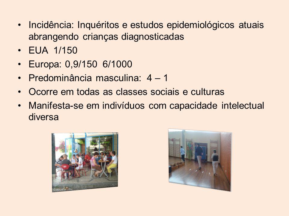 Incidência: Inquéritos e estudos epidemiológicos atuais abrangendo crianças diagnosticadas