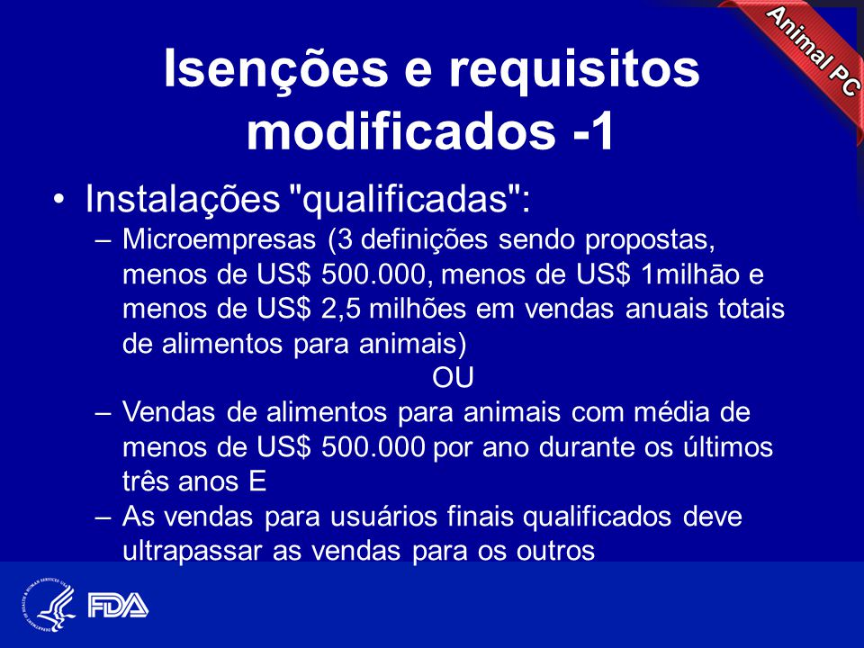 Isenções e requisitos modificados -1