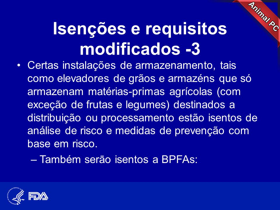Isenções e requisitos modificados -3
