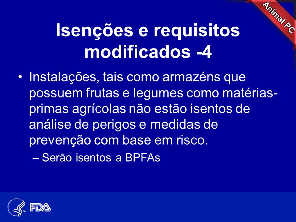 Isenções e requisitos modificados -4