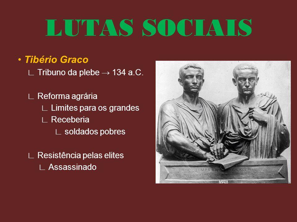 LUTAS SOCIAIS • Tibério Graco ∟ Tribuno da plebe → 134 a.C.