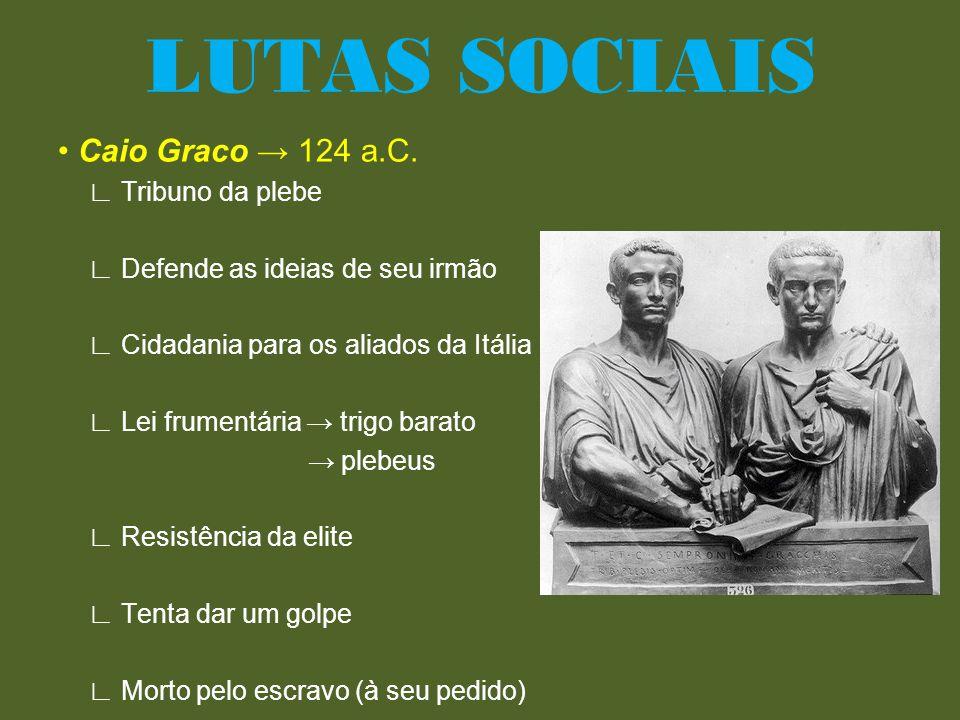 LUTAS SOCIAIS • Caio Graco → 124 a.C. ∟ Tribuno da plebe