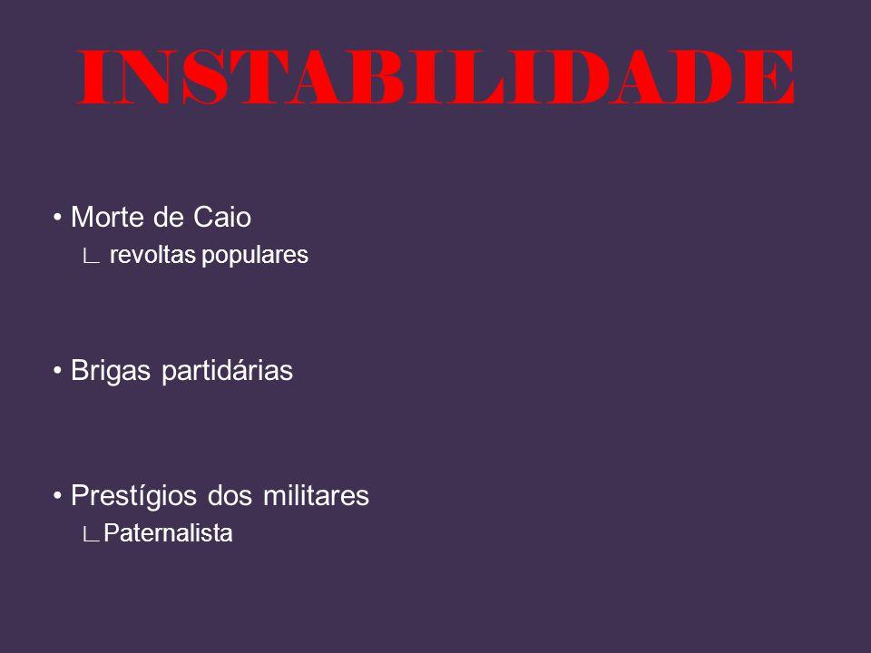 INSTABILIDADE • Morte de Caio • Brigas partidárias