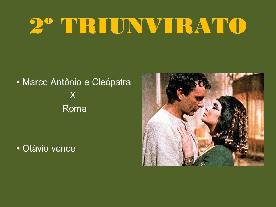 2º TRIUNVIRATO • Marco Antônio e Cleópatra X Roma • Otávio vence