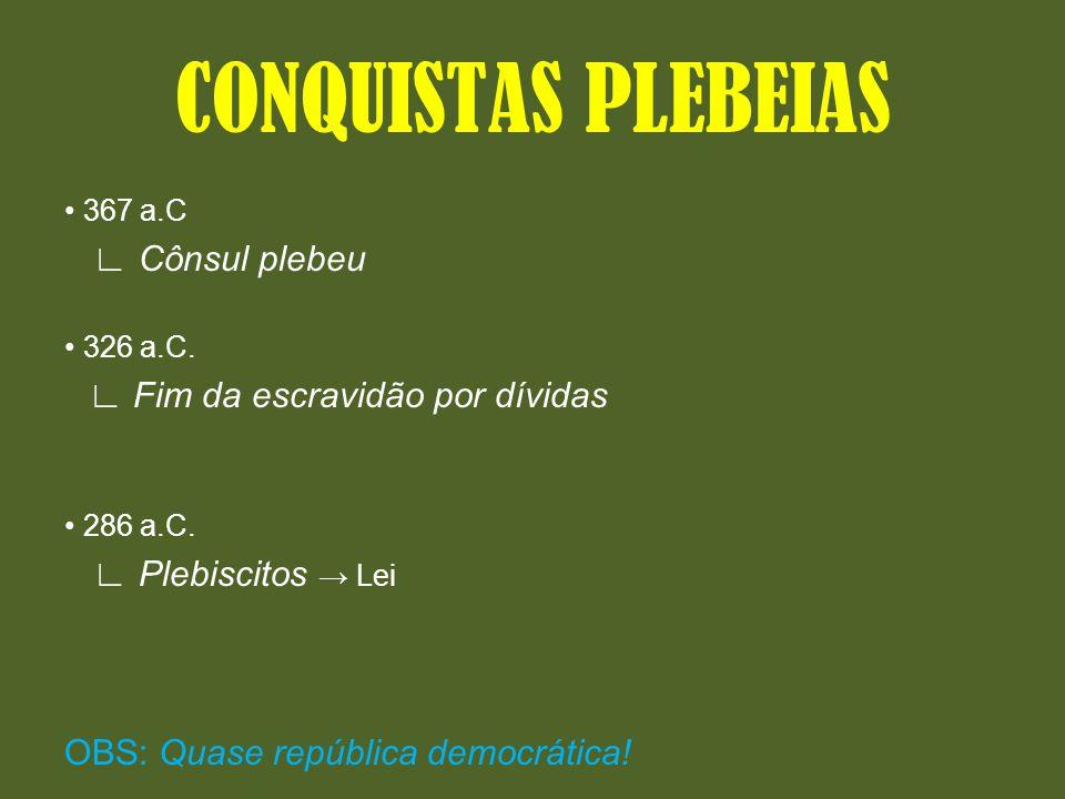 CONQUISTAS PLEBEIAS ∟ Cônsul plebeu ∟ Plebiscitos → Lei