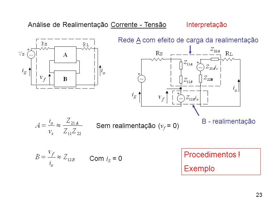 Procedimentos ! Exemplo Análise de Realimentação Corrente - Tensão