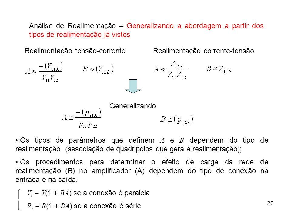 Análise de Realimentação – Generalizando a abordagem a partir dos tipos de realimentação já vistos