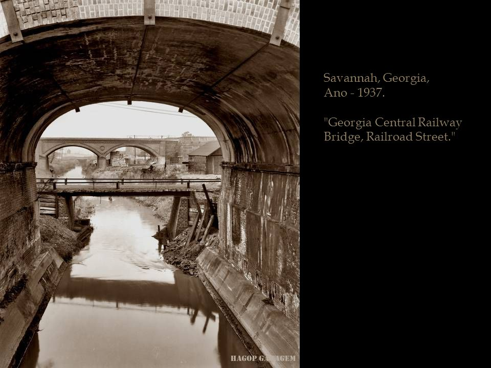 Savannah, Georgia, Ano - 1937. Georgia Central Railway Bridge, Railroad Street.