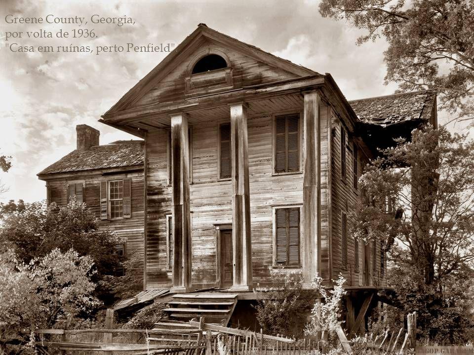 Greene County, Georgia, por volta de 1936. Casa em ruínas, perto Penfield .