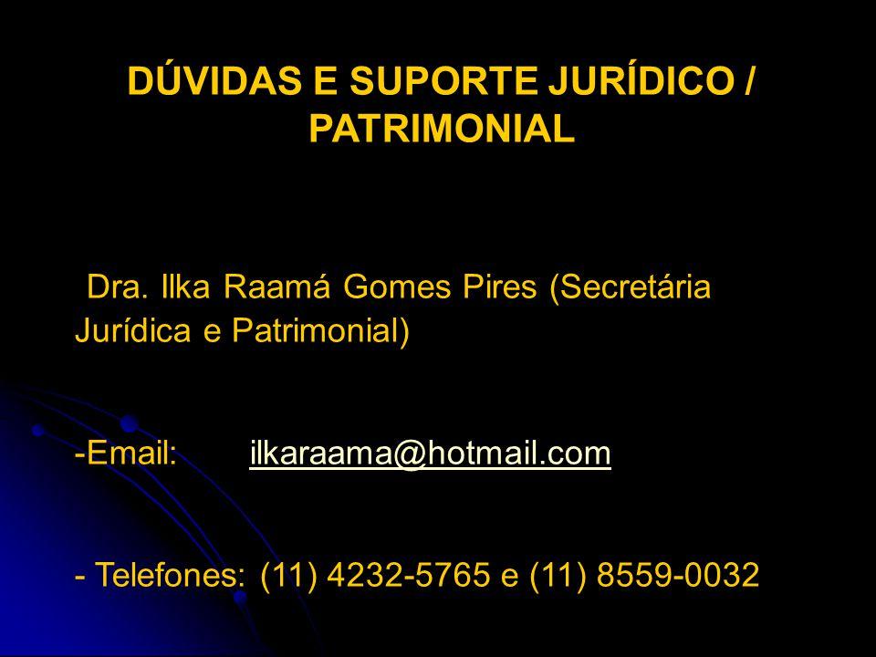 DÚVIDAS E SUPORTE JURÍDICO / PATRIMONIAL
