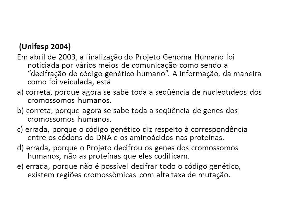 (Unifesp 2004) Em abril de 2003, a finalização do Projeto Genoma Humano foi noticiada por vários meios de comunicação como sendo a decifração do código genético humano .