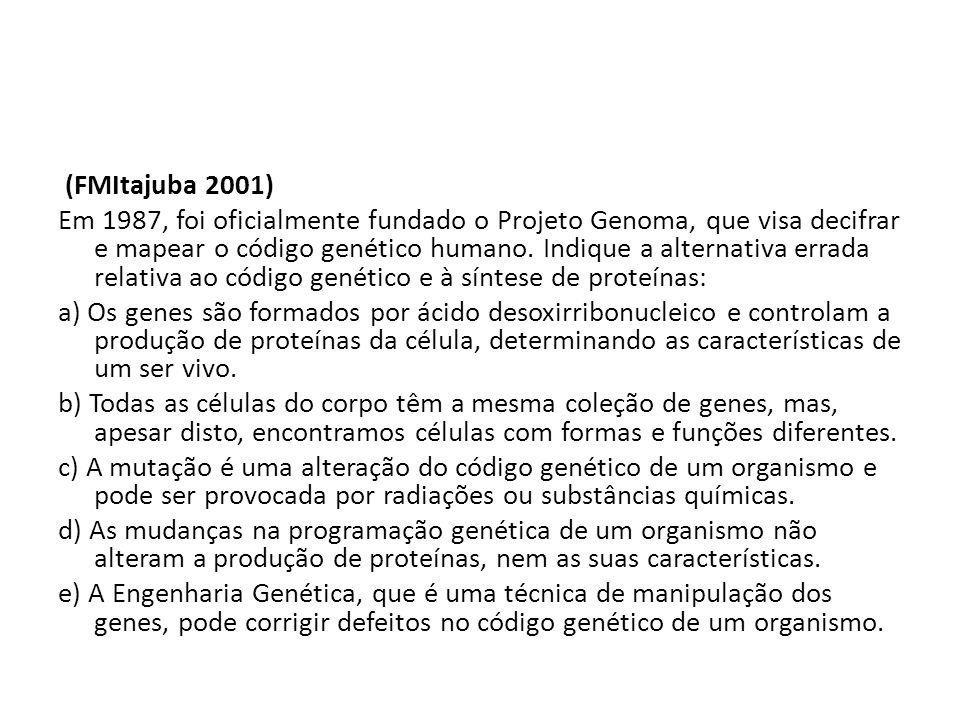 (FMItajuba 2001) Em 1987, foi oficialmente fundado o Projeto Genoma, que visa decifrar e mapear o código genético humano.