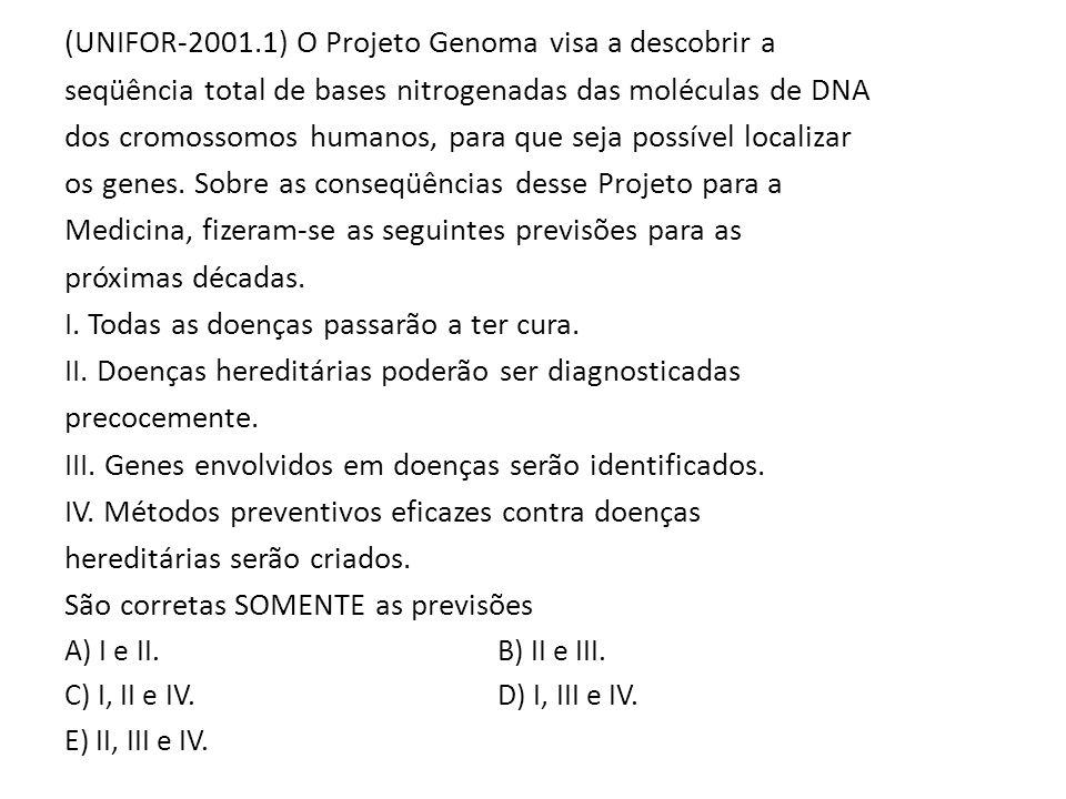 (UNIFOR-2001.1) O Projeto Genoma visa a descobrir a