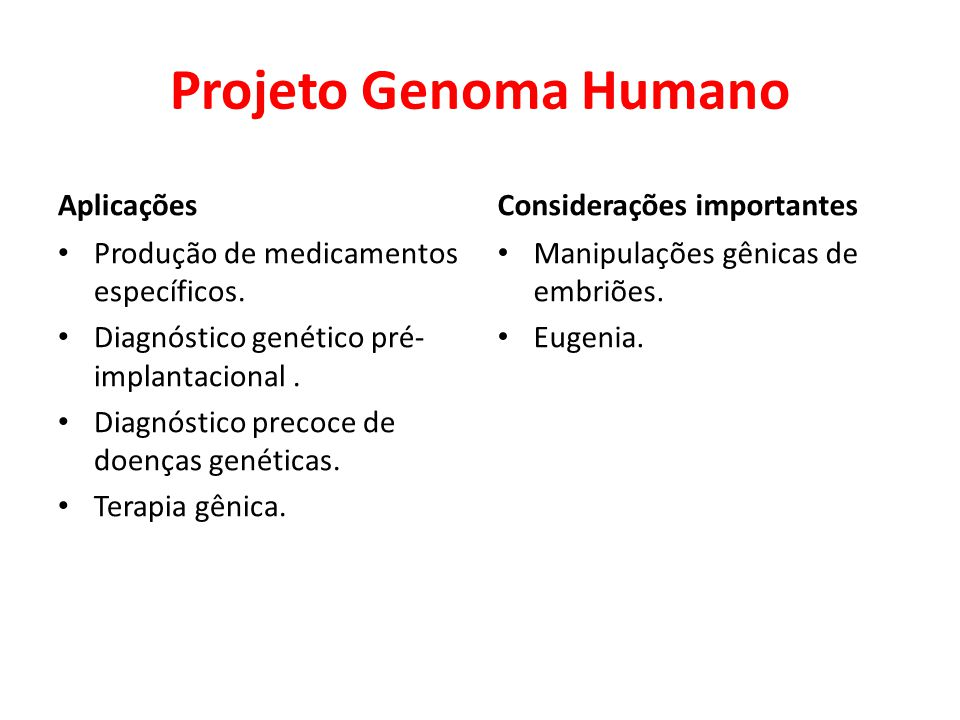 Projeto Genoma Humano Aplicações Considerações importantes