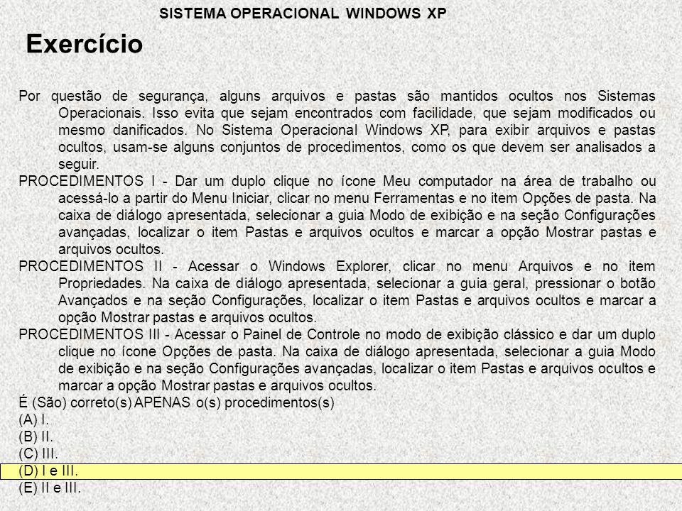 Exercício SISTEMA OPERACIONAL WINDOWS XP