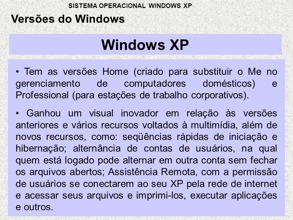 Windows XP Versões do Windows