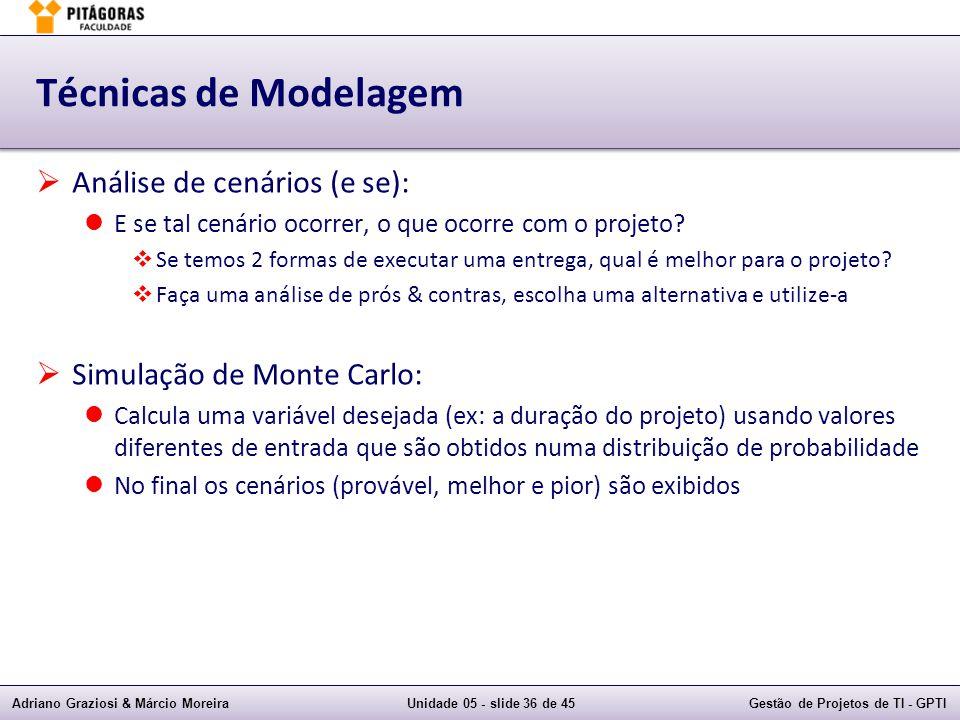 Técnicas de Modelagem Análise de cenários (e se):