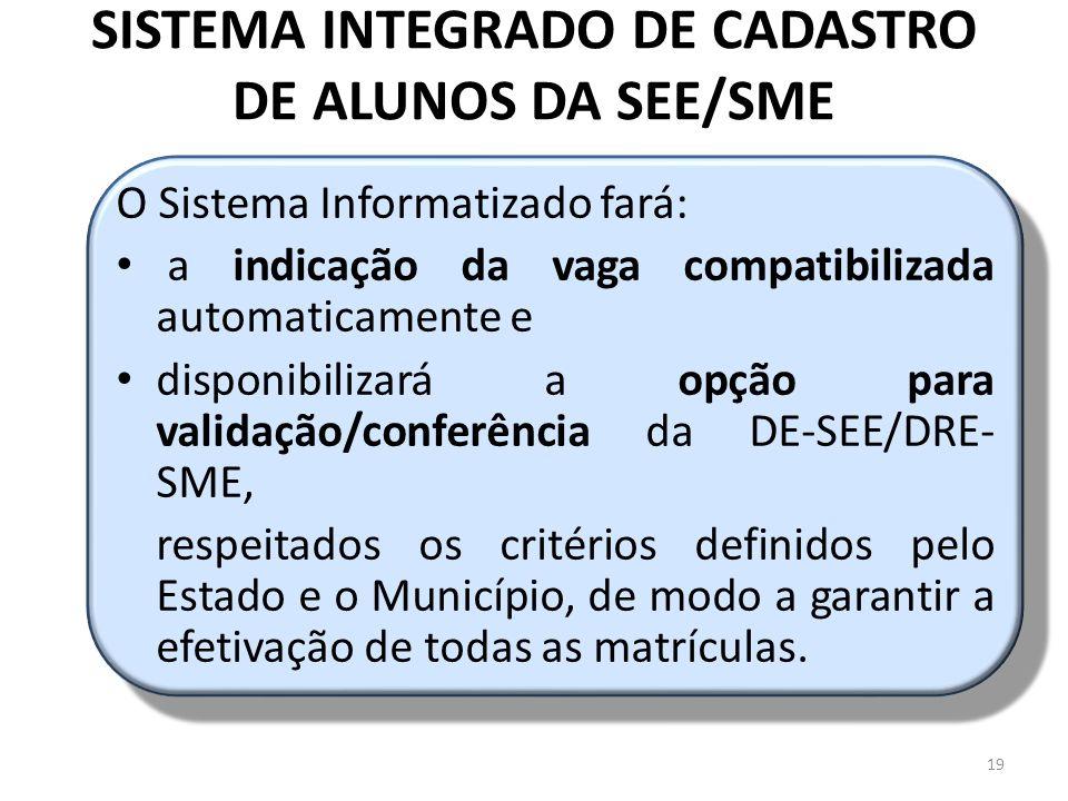 SISTEMA INTEGRADO DE CADASTRO DE ALUNOS DA SEE/SME