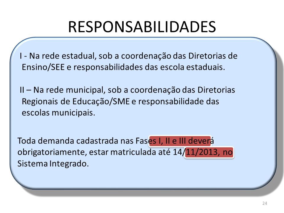 RESPONSABILIDADES I - Na rede estadual, sob a coordenação das Diretorias de. Ensino/SEE e responsabilidades das escola estaduais.
