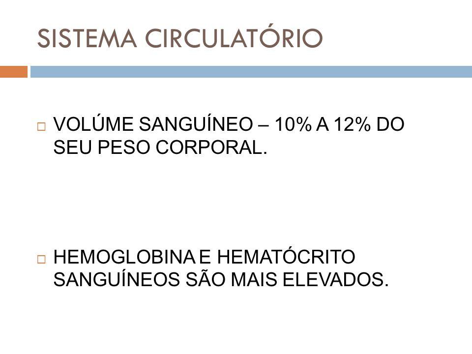 SISTEMA CIRCULATÓRIO VOLÚME SANGUÍNEO – 10% A 12% DO SEU PESO CORPORAL.