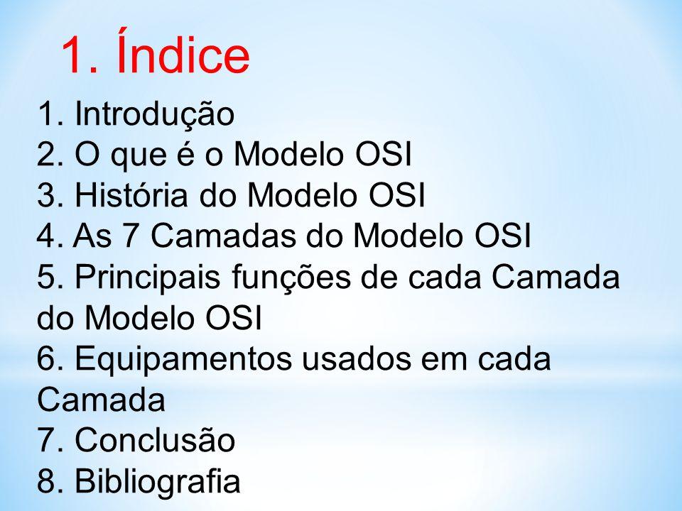 1. Índice Índice 1. Introdução 2. O que é o Modelo OSI