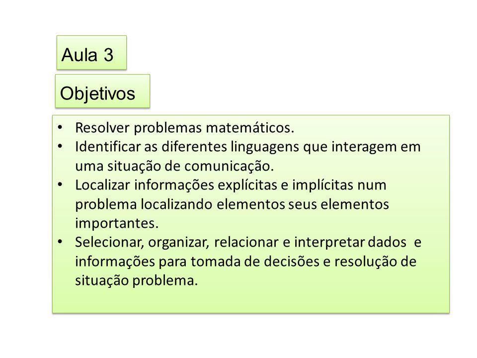 Aula 3 Objetivos Resolver problemas matemáticos.