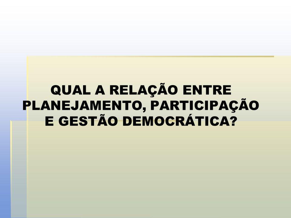 QUAL A RELAÇÃO ENTRE PLANEJAMENTO, PARTICIPAÇÃO E GESTÃO DEMOCRÁTICA
