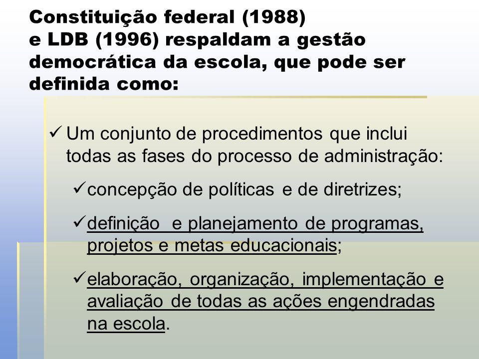 Constituição federal (1988) e LDB (1996) respaldam a gestão democrática da escola, que pode ser definida como: