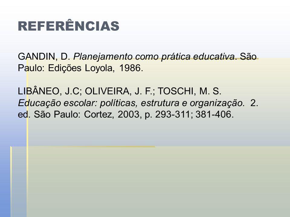 REFERÊNCIAS GANDIN, D. Planejamento como prática educativa. São Paulo: Edições Loyola, 1986.